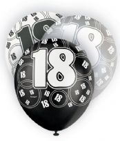 Black Glitz Age 18 Latex Balloons (6)